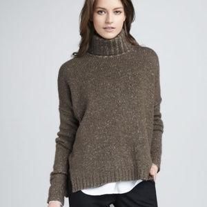 VINCE Brown Wool Silk Cashmere Turtleneck Sweater